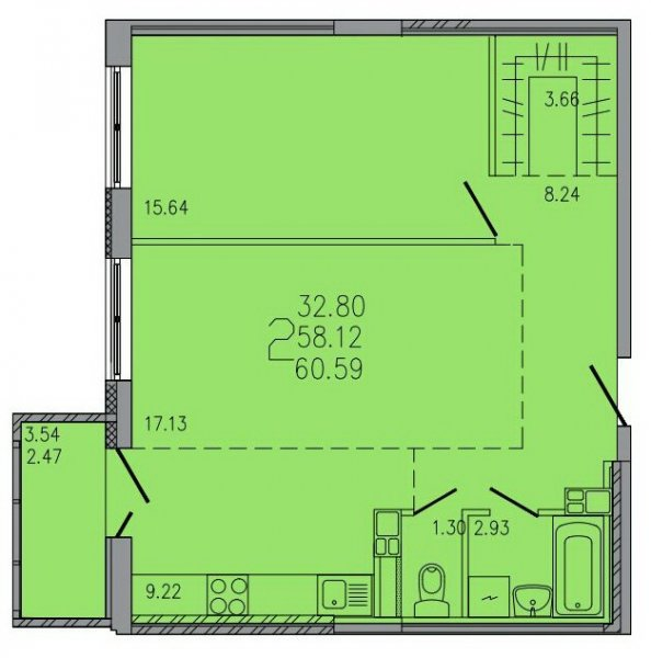 2-комнатная квартира по ул. К. Либкнехта ЖК «Гармония»