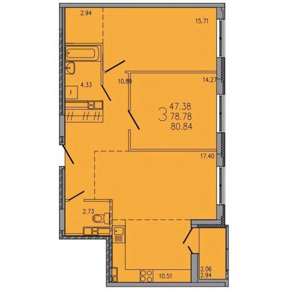 3-комнатной квартиры ЖК Гармония по ул. Люксембург